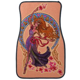 Beautiful morning goddes fairy flies with moon car mat