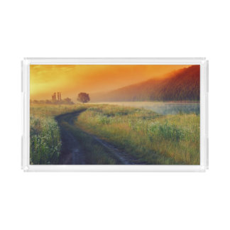 Beautiful morning landscape with the river acrylic tray
