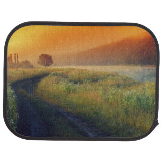Beautiful morning landscape with the river floor mat