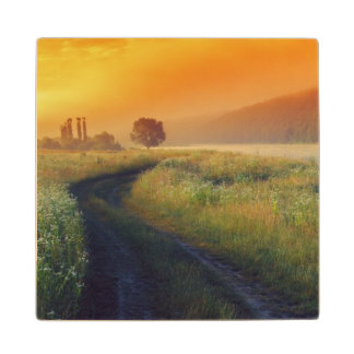 Beautiful morning landscape with the river maple wood coaster