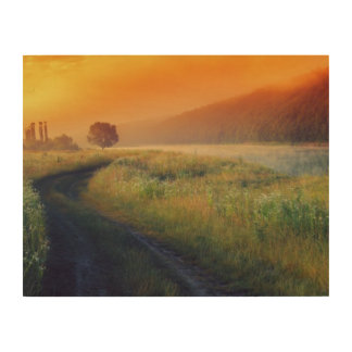 Beautiful morning landscape with the river wood print