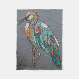 Beautiful mosaic crane fleece blanket