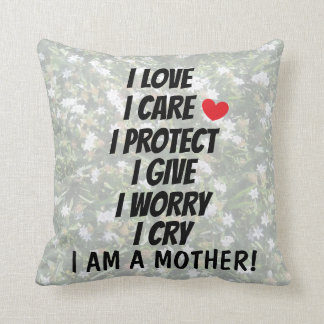 Beautiful Mothers Poem Print Floral Design Cushion