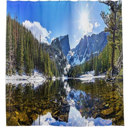 Beautiful, Mountain Lake Landscape Shower Curtain