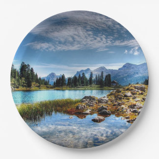 Beautiful Mountain Meadow Scenery Paper Plates