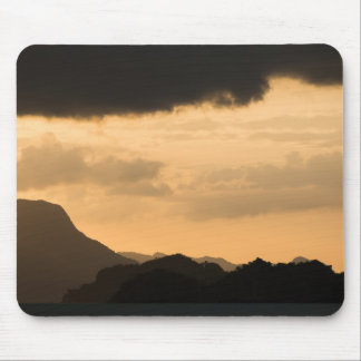 Beautiful Mountain View with Golden Sky Mouse Pad