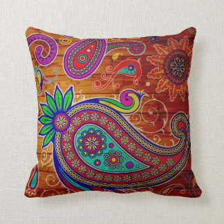 Beautiful multi color paisley design cushion