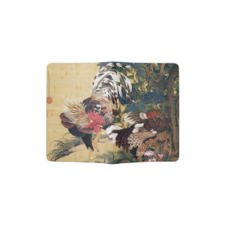 Beautiful Multi-colored Rooster and Hen Passport Holder