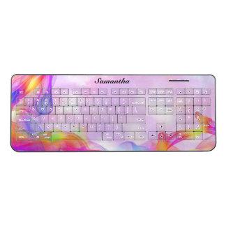 Beautiful Multicolored Pattern On Pink Wireless Keyboard