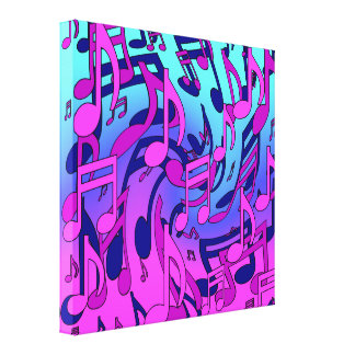 Beautiful Music Lively Expressive Musical Notes Stretched Canvas Print