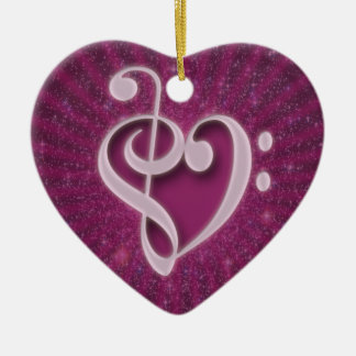 Beautiful music notes put together as a heart christmas ornament