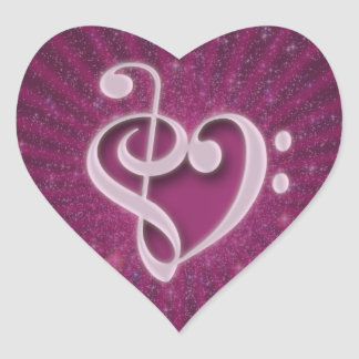 Beautiful music notes put together as a heart heart sticker