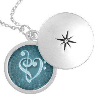 Beautiful music notes put together as a heart locket necklace