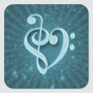 Beautiful music notes put together as a heart square sticker