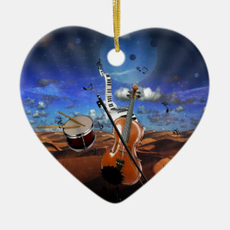 Beautiful music notes violin splatter piano drums christmas ornament