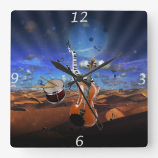 Beautiful music notes violin splatter piano drums square wall clock