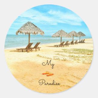 Beautiful My Paradise Beach Classic Round Sticker
