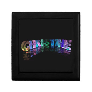 Beautiful Name - Christine in 3D Lights Small Square Gift Box