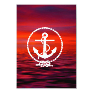 Beautiful nautical Anchor Sunrise colourful Cloud 13 Cm X 18 Cm Invitation Card