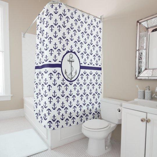 Beautiful Nautical Theme Blue Anchor Pattern Shower Curtain