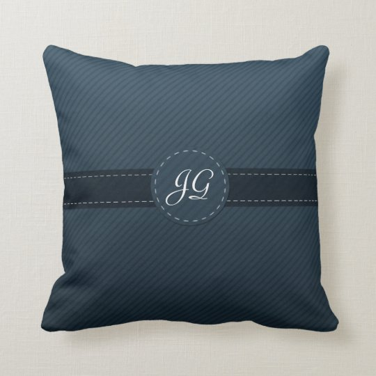 Beautiful Navy Blue Custom Monogram Throw Pillow