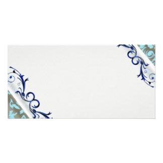 Beautiful navy blue swirls and aqua damask photo cards
