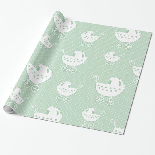 Beautiful Neutral Mint Green Baby Pattern Wrapping Paper