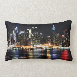 Beautiful New York Night Lights Reflecting River Lumbar Cushion