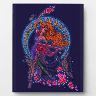 Beautiful night goddes fairy flies with moon plaque