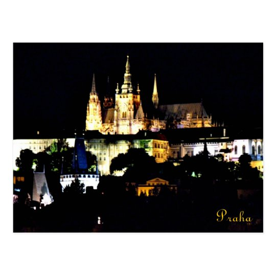 Beautiful night view of Praha Castle Postcard