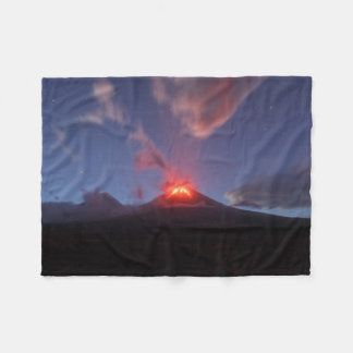 Beautiful night volcano eruption fleece blanket