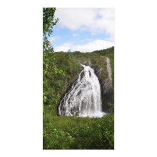 Beautiful Norwegian mountain waterfall in summer Card