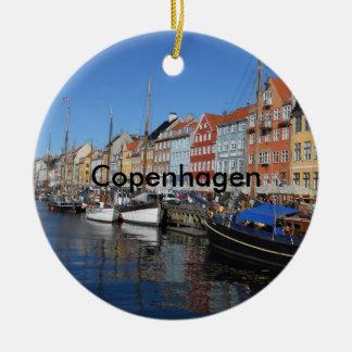 Beautiful Nyhavn, Copenhagen in Denmark Round Ceramic Decoration