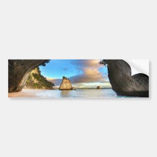 Beautiful Ocean Rock Arch Formation on Beach Bumper Sticker