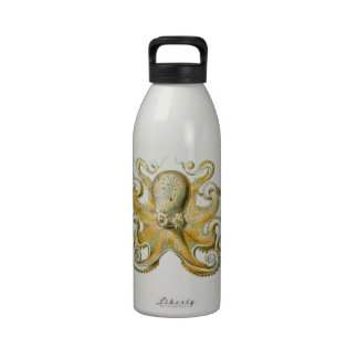 Beautiful octopus picture by Haeckel Water Bottle