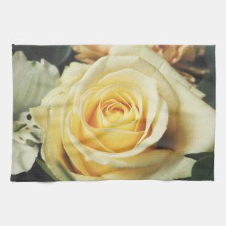Beautiful Off White Cream Rose Tea Towel