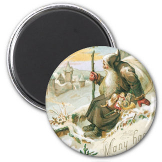 Beautiful old painting of Santa Claus 6 Cm Round Magnet