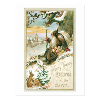 Beautiful old painting of Santa Claus Postcard