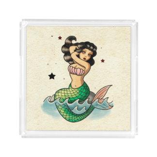 Beautiful Old School Mermaid Acrylic Tray