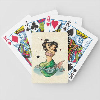 Beautiful Old School Mermaid Bicycle Playing Cards