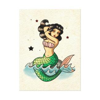 Beautiful Old School Mermaid Canvas Print