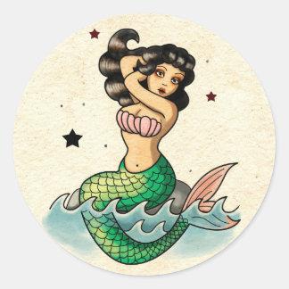 Beautiful Old School Mermaid Classic Round Sticker