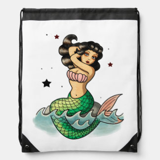 Beautiful Old School Mermaid Drawstring Bag