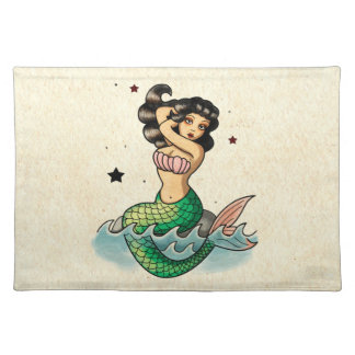 Beautiful Old School Mermaid Placemat