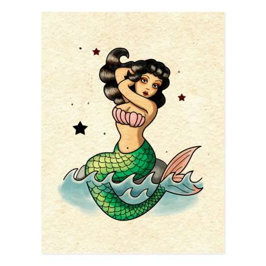 Beautiful Old School Mermaid Postcard