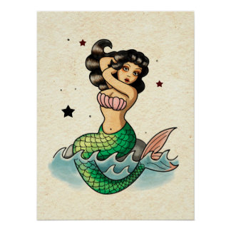 Beautiful Old School Mermaid Poster