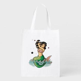 Beautiful Old School Mermaid Reusable Grocery Bag