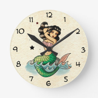 Beautiful Old School Mermaid Round Clock