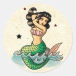 Beautiful Old School Mermaid Round Sticker