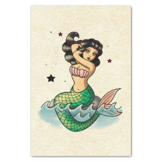 Beautiful Old School Mermaid Tissue Paper